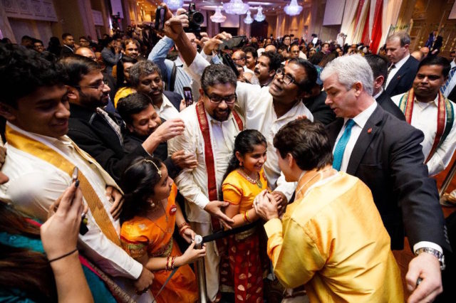 Prime Minister Justin Trudeau and MP Gary Anandasangaree take part in Thai Pongal festival celebrations in Scarborough, Ontario