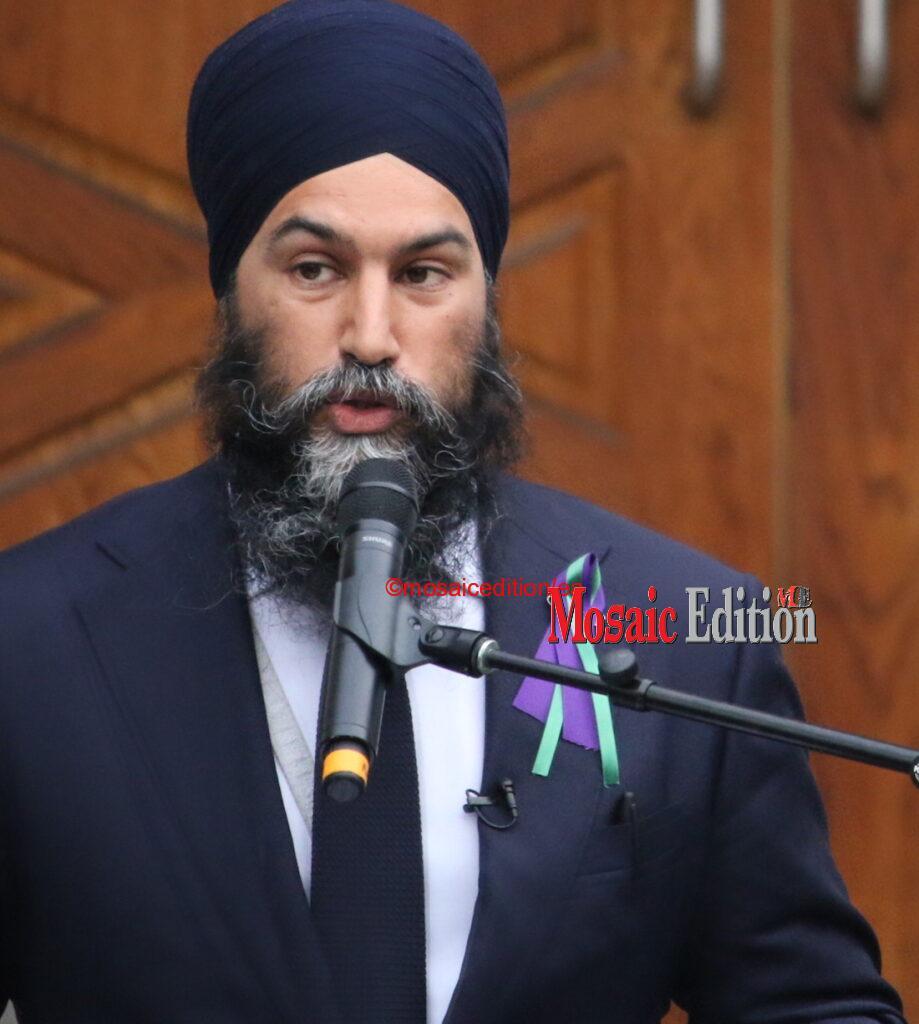 Jagmeet Singh Leader New Democratic Party -Vigil for Muslim family killed, injured in London Ontario in hate crime Photo Mosaic Edition Edward Akinwunmi