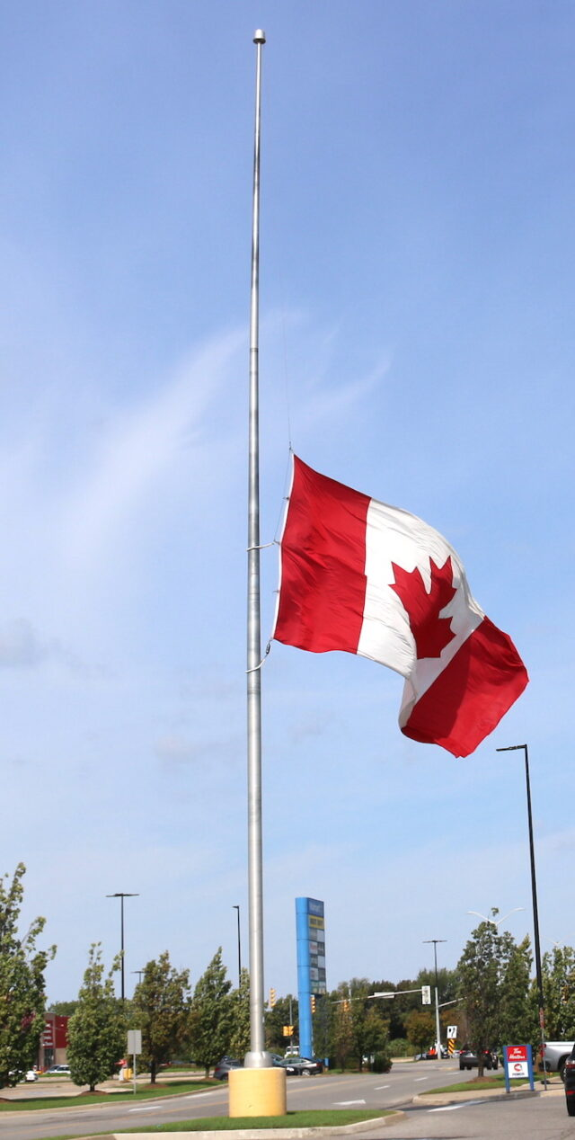 Canadian flag – half-mast National Day for Truth and Reconciliation – September 30
