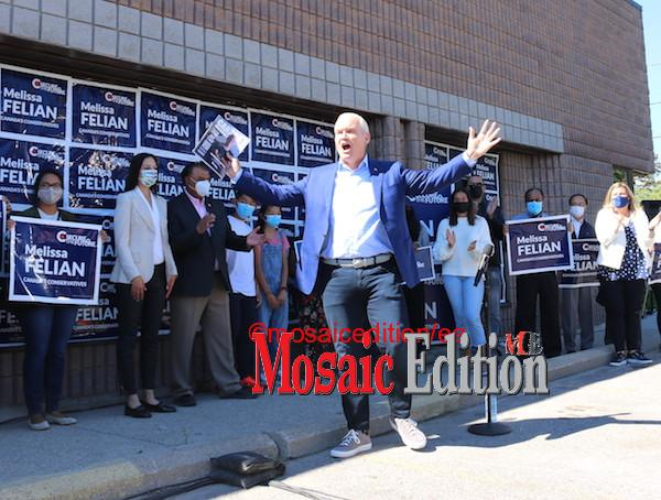 Erin O'Toole, The Leader of Conservative Party campaigned this afternoon in Photo Mosaic Edition Edward Akinwunmi