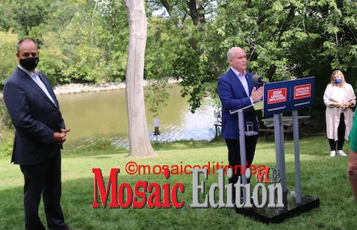 Erin O'Toole campaigns in Mississauga – Stop Liberal Inflation. Photo Mosaic Edition Edward Akinwunmi