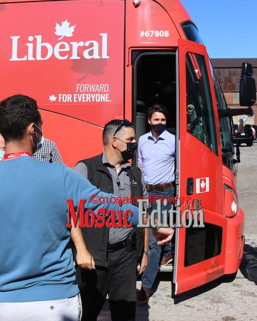 Justin Trudeau Labour Day Welland – Photos Mosaic Edition -Justin Trudeau arrives at Valbruna ASW INC., Welland. Photo Mosaic Edition Edward Akinwunmi