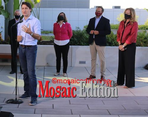 Justin Trudeau met with candidates in the September 20 election.