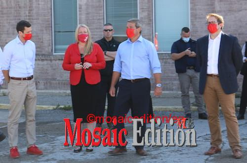 Liberal Party candidates in the September 20 election wait for arrival of Justin Trudeau at Valbruna ASW INC., Welland. Photo Mosaic Edition Edward Akinwunmi