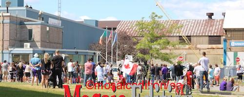 Protesters followed Justin Trudeau to Welland. They gathered in front of Valbruna ASW INC. Photo Mosaic Edition Edward Akinwunmi