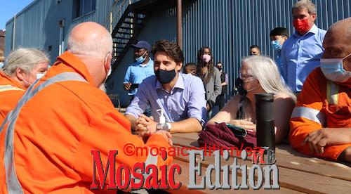 Trudeau chats with workers - Valbruna ASW INC., Welland Labour Day 2021 event. Photo Mosaic Edition Edward Akinwunmi.