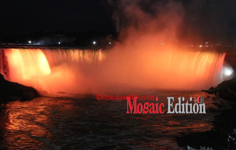 National Day for Truth and Reconciliation – Niagara Falls Illumination – orange Niagara Falls was illuminated in the evening of the National Day for Truth and Reconciliation. Photo Mosaic Edition Edward Akinwunmi.